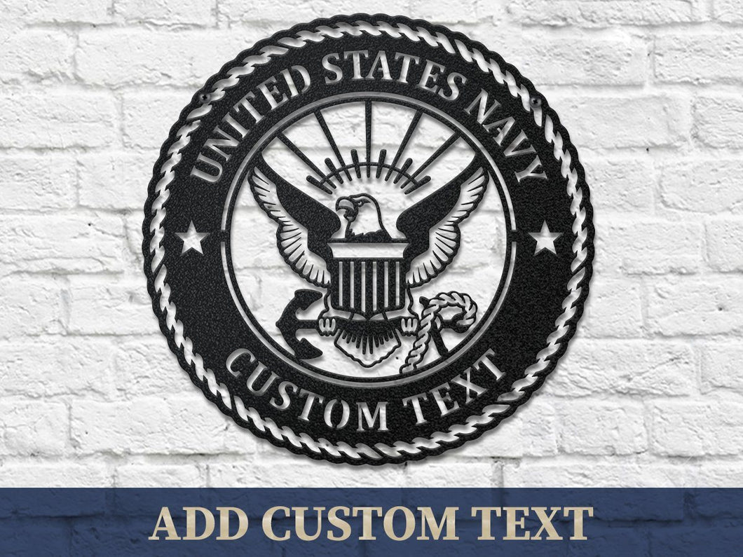 Custom Text U.S. NAVY Steel Cut Wall Decor