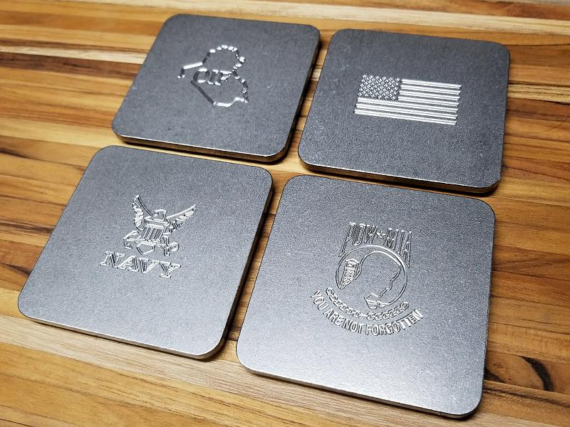 Up-Armored U.S. NAVY  Engraved Stainless Steel Coaster Set (Select 4 Emblems)