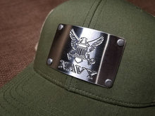Milspin U.S. NAVY Custom Engraved Machined Metal Plate Hat (Select 1 Emblem)