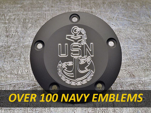 Harley Davidson custom engraved points covers with Navy insignia