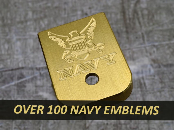 MILSPIN engraved magazine base plate with Navy insignia