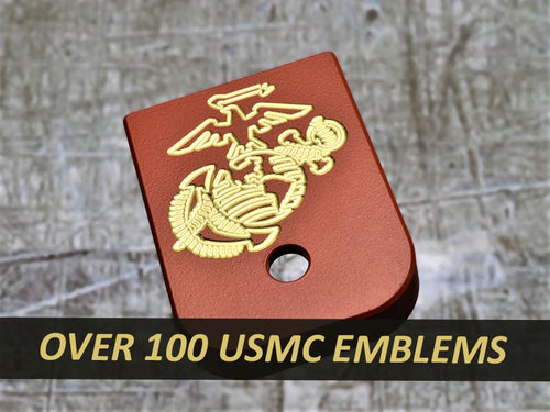 MILSPIN engraved magazine base plate with USMC insignia