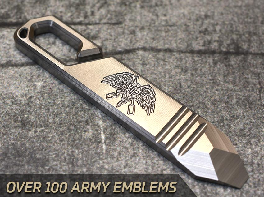 Milspin EDC Pry Bar ARMY Engravings (Over 100 Emblems)