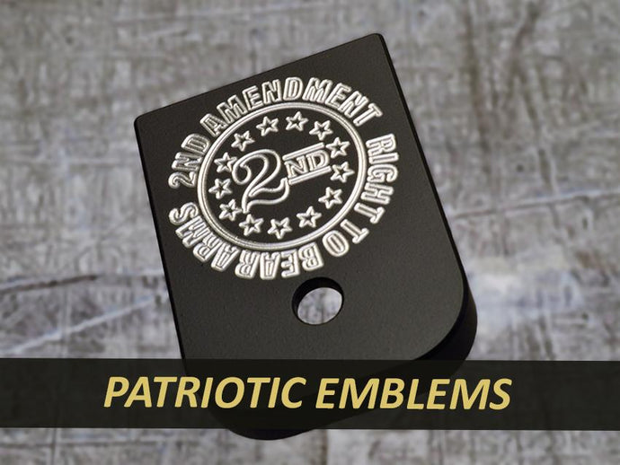MILSPIN engraved magazine base plate with Patriotic insignia