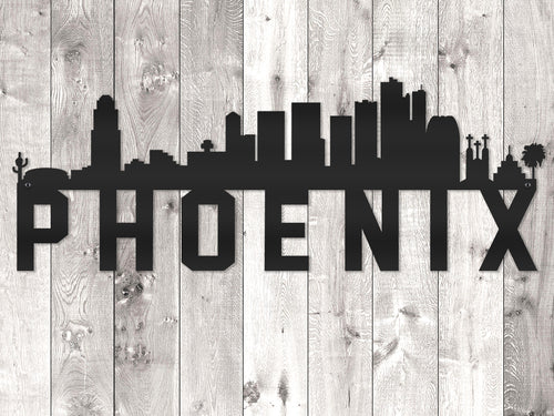 Phoenix City Skyline - Block Lettering
