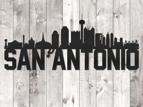 San Antonio City Skyline - Block Lettering