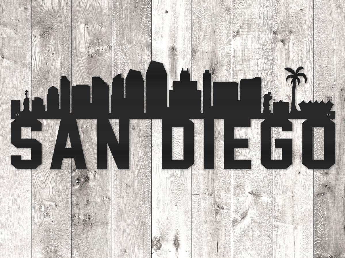 San Diego City Skyline - Block Lettering