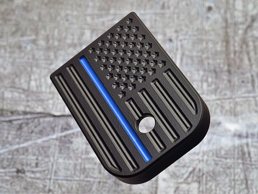 MILSPIN engraved thin blue line magazine base plate