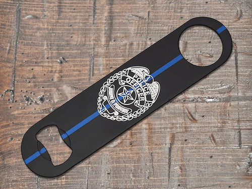 Thin Blue Line Police Badge Bottle Opener