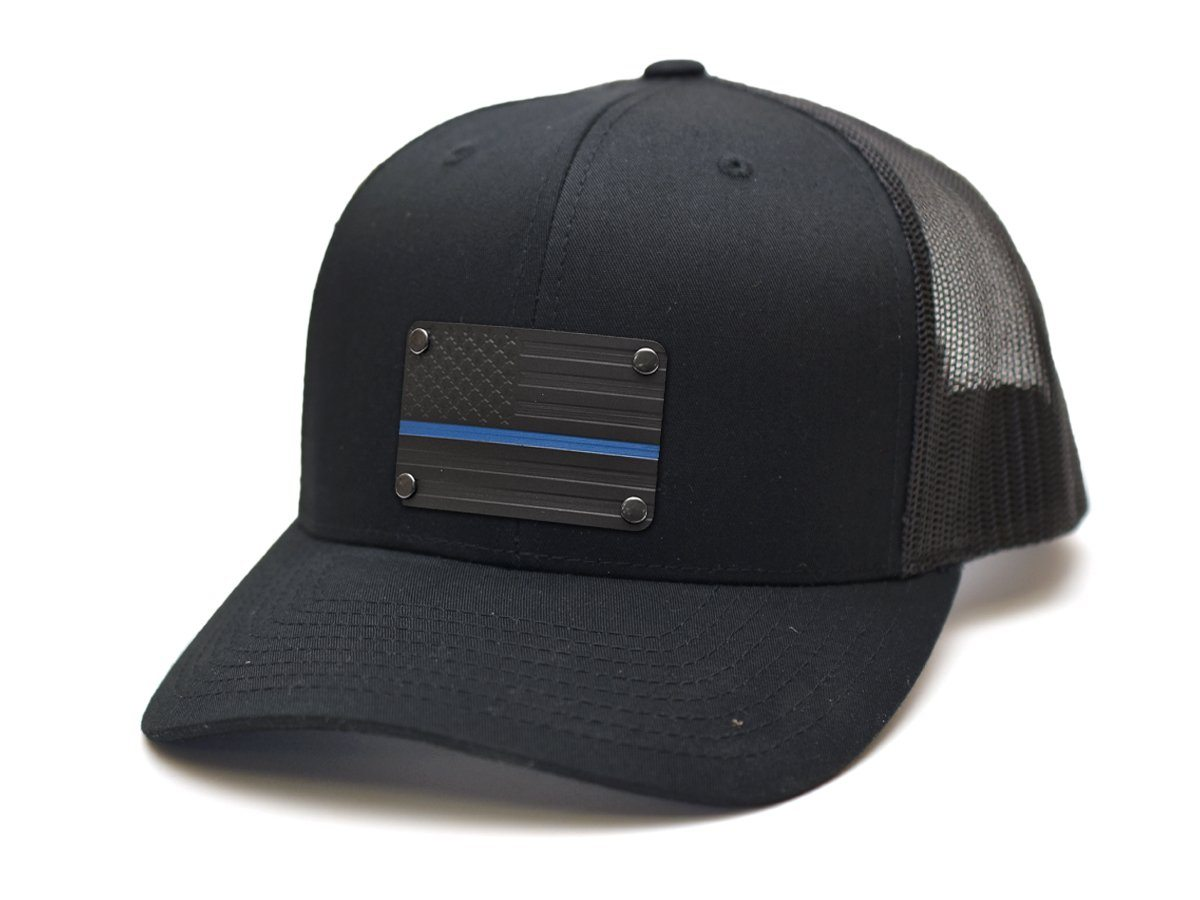 Milspin Thin Blue Line Stainless Steel Plate Snap-Back Hat