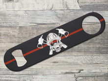 Thin Red Line Fire-Fighter Mask Crossed Axes Bottle Opener