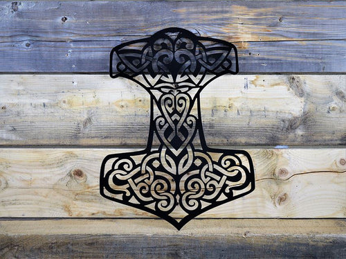 Milspins custom metal works Thor's Hammer wall art