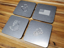 Up-Armored USMC Custom Engraved Stainless Steel Coaster Set (Select 4 Emblems)