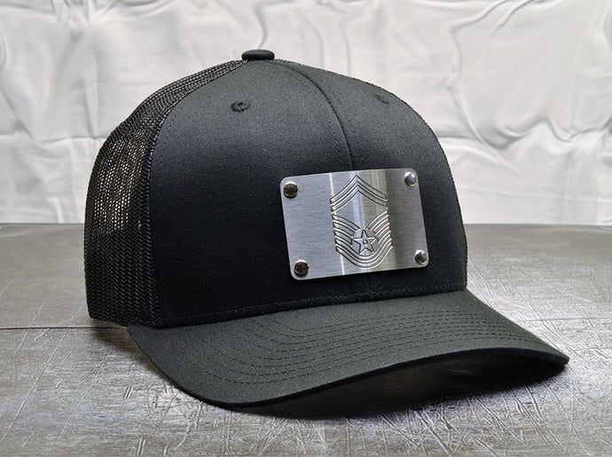 Milspin Air Force Hat: Custom Engraved Machined Metal Plate (Select 1 Emblem)