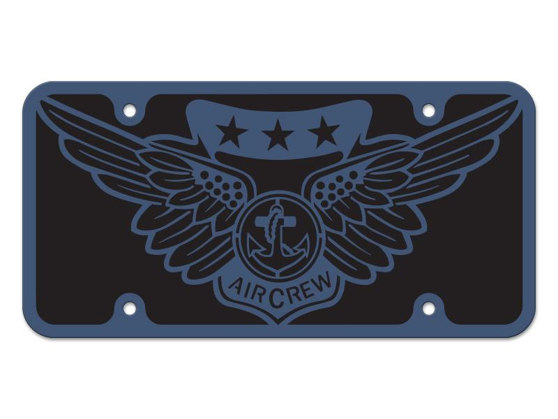 Milspin Combat Air Crew Logo Steel Cut License Plate