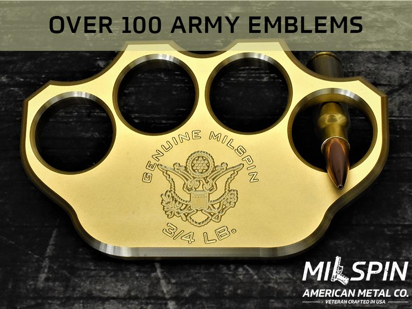 3/4lb Solid Brass ARMY Engraved Paperweight (Over 100 Army Emblems)