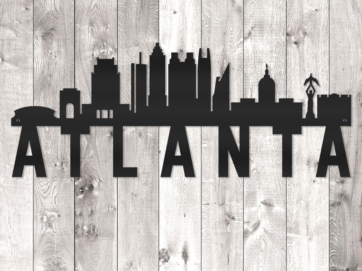 Atlanta City Skyline - Block Lettering