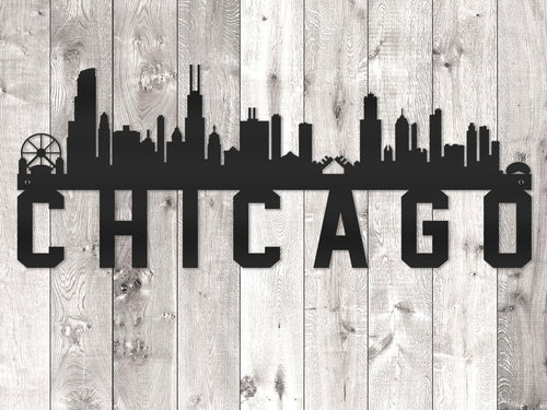 Chicago City Skyline - Block Lettering
