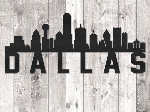 Dallas City Skyline - Block Lettering
