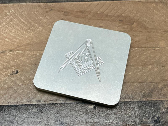 Milspin Up-Armored Freemason Engraved Stainless Steel Coasters