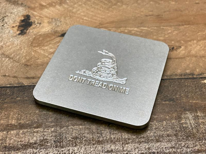 Milspin Up-Armored Gadsden Flag Engraved Stainless Steel Coasters