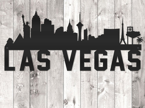 Las Vegas City Skyline - Block Lettering