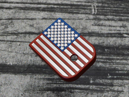 Multi-Colored US Flag Stainless Steel Magazine Base Plate