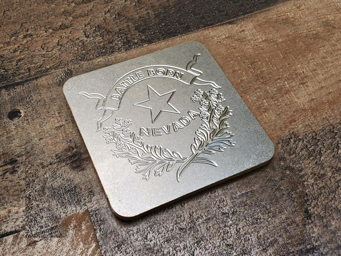 Milspin Up-Armored Nevada Flag Engraved Stainless Steel Coasters
