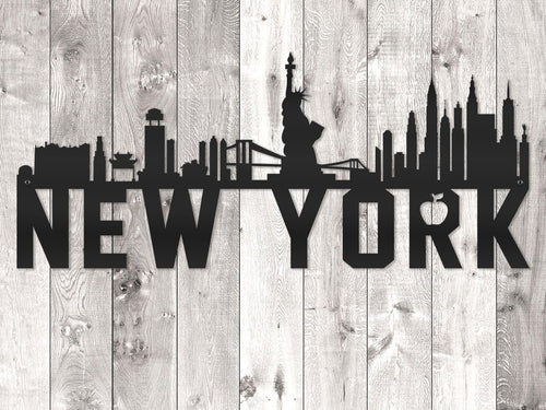 New York City Skyline - Block Lettering