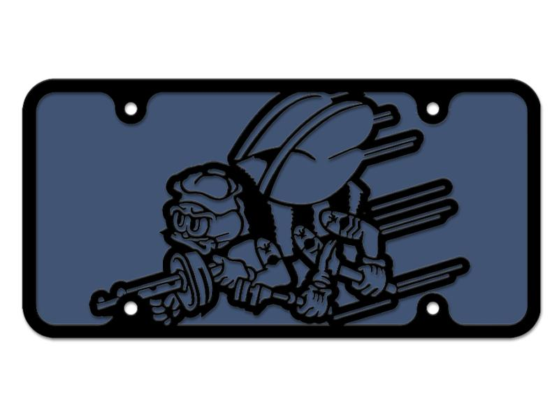 Milspin Navy Seabees Logo Steel Cut License Plate