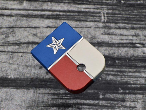 Tri-Color Texas Flag Stainless Steel Magazine Base Plate