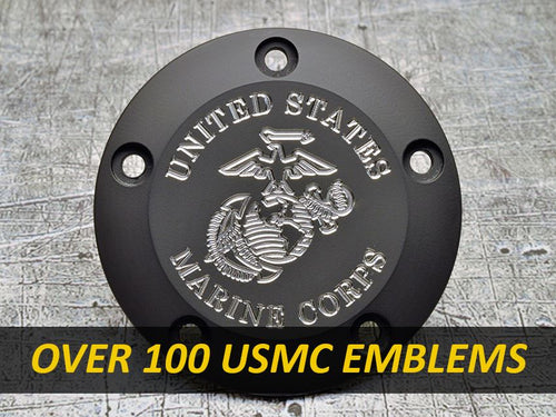 Harley Davidson custom engraved points covers with USMC insignia