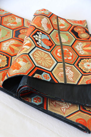 Zenbu Home 'Kame' Hexagonal vintage chrysanthemum taiko drums crane symbols brocade Heavy Silk Obi Sash Elegant Traditional Japanese Fashion Design Buy