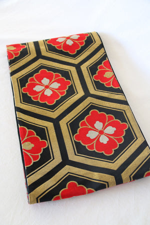 Zenbu Home 'Hanabishi' Hexagonal red gold black brocade Heavy Silk Obi Sash Elegant Traditional Japanese Fashion Design Buy