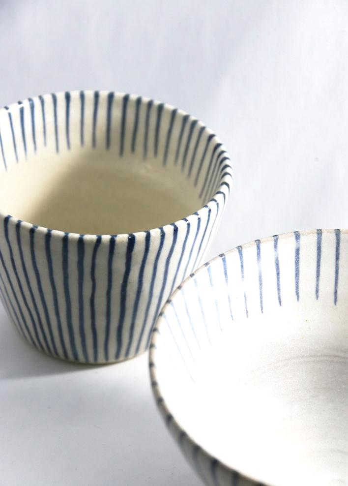 Gorgeous blue pin stripe ceramic breakfast set  - handmade in Japan and available at Zenbu Home