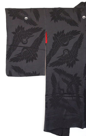 Zenbu Home 'Kuro Tsuru' black crane silk Haori Jacket stylish Elegant Traditional Japanese Fashion Design Buy