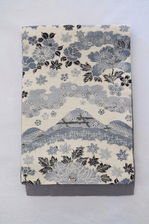 Zenbu Home 'Aoyama no Hana' Blue Mountain Flowers Heavy Silk Obi Sash Elegant Traditional Japanese Fashion Design Buy