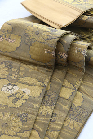 Zenbu Home 'Kin Kaou' Golden Peony Hanhaba style Heavy Silk Obi Sash Elegant Traditional Japanese Antique Design Buy