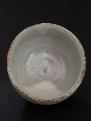 Hand-crafted milk glaze sake cup by Japanese ceramic artist from zenbuhome.com