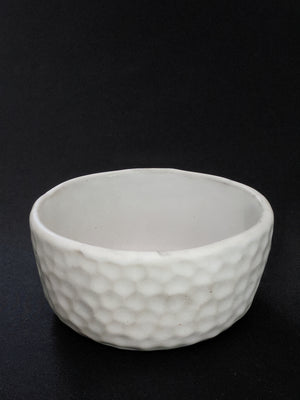 Dimpled white Japanese ceramic dish available at Zenbu Home