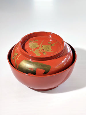 Antique Japanese Red Lacquerware bowl in red with gold plum blossoms from Zenbu Home