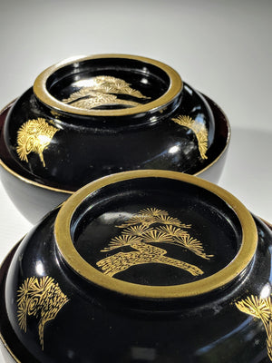 Stunning hand-crafted Japanese laquerware bowl in black, gold and red from Zenbu Home