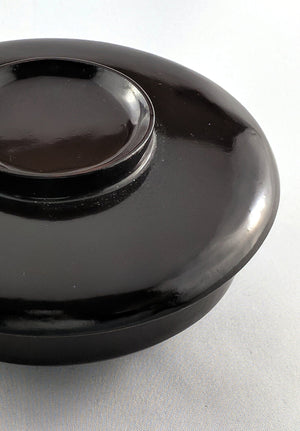 Chic, low-slung minamalist Japanese lacquerware bowl in dark Aubergine at Zenbu Home
