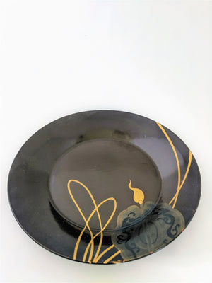 Beautiful antique chocolate and gold lacquerware plates from Japan at Zenbu Home