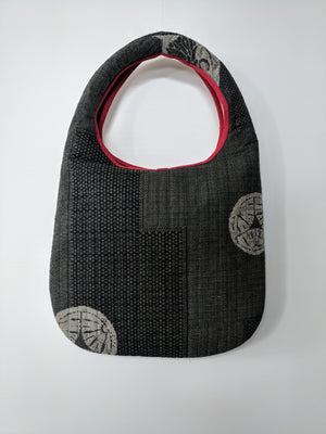 Stunning Japanese crest Shiga Shoulder Bag from Zenbu Home in charcoal and red