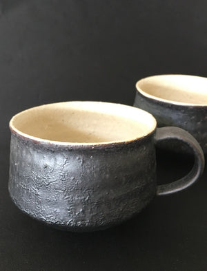 Gorgeous handmade Fireside Japanese ceramic cup in rich chocolate grey and cream tones from Zenbu Home
