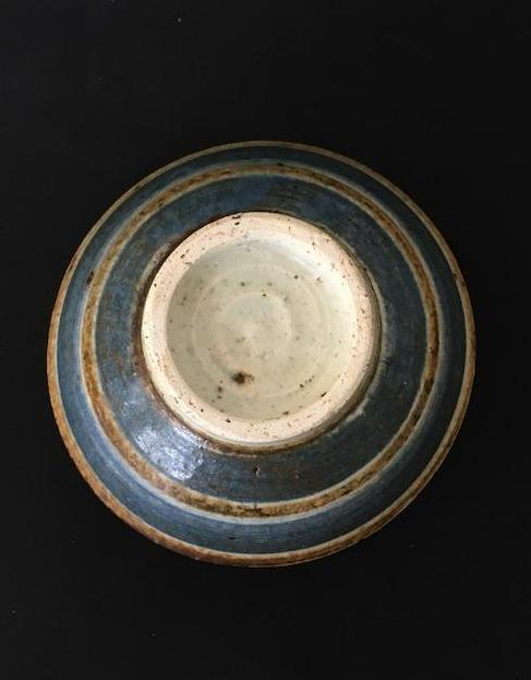 Handmade Japanese speckled ceramic bowl in cream, blue and rust is available at Zenbu Home