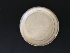 Japanese ceramic, lipped plate speckled, creamy beige at Zenbu Home