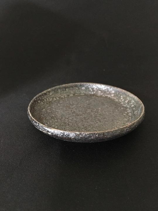 stylish handmade Japanese pottery plate with a matt, speckled surface in bronze tones from Zenbu Home