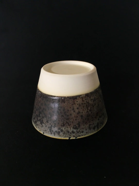 Handmade Japanese Fuji Mood cup in dark, mottled chocolate and snowy white